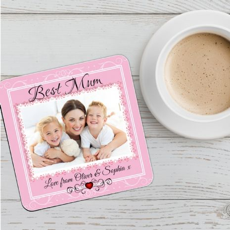 Personalised Photo Coaster N6 - Birthday, Christmas, Mothers Day Gift - BEST MUM